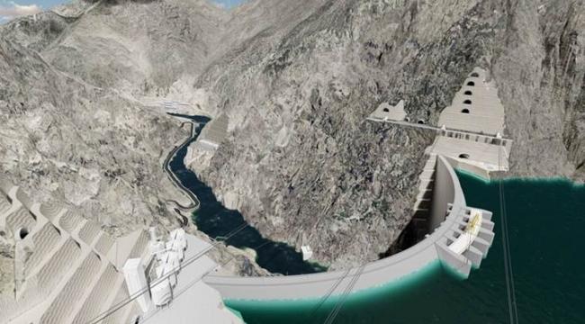 Yusufeli Baraj inşaatında Beton Dolgu İşlemine Başlandı.